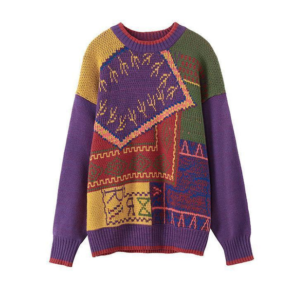 VINTAGE GEOMETRIC PATTERN OVERSIZED WARM KNIT SWEATER