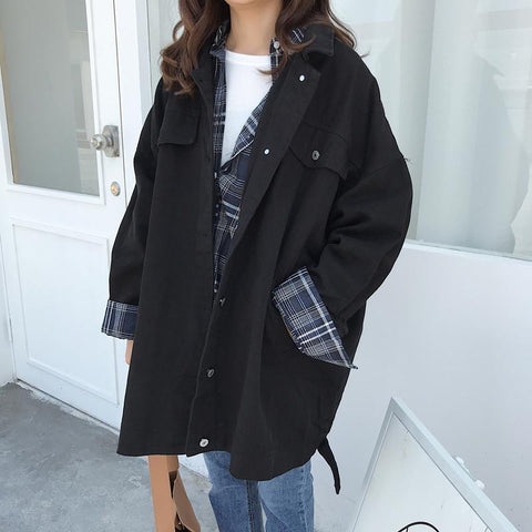 VINTAGE LOOSE LONG SLEEVE CASUAL TRENCH COAT