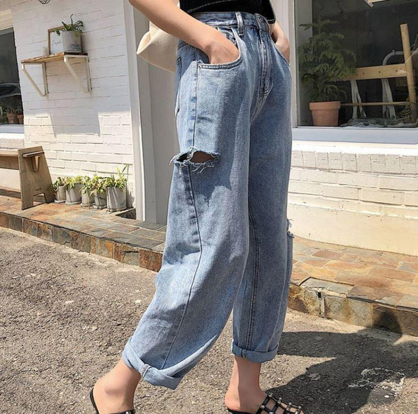 VINTAGE OVERSIZED DENIM RIPPED HIGH WAIST JEANS