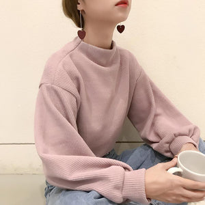 VINTAGE RIBBED LOOSE PUFFED SLEEVES SWEATER