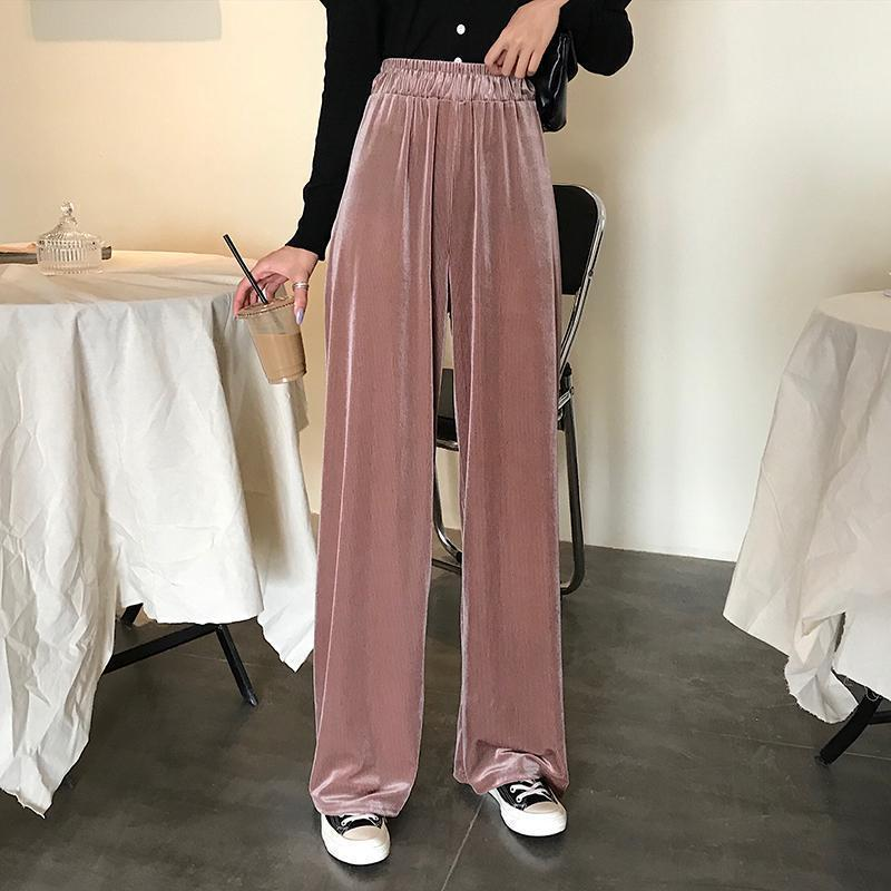 VINTAGE VELVET HIGH ELASTIC WAIST LOOSE PANTS