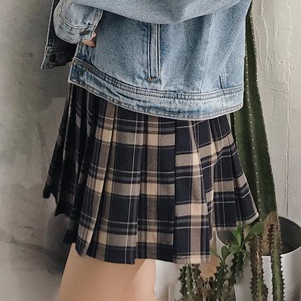 WAIST SLIM PLEATED SCHOOL TARTAN PLAID SKIRT