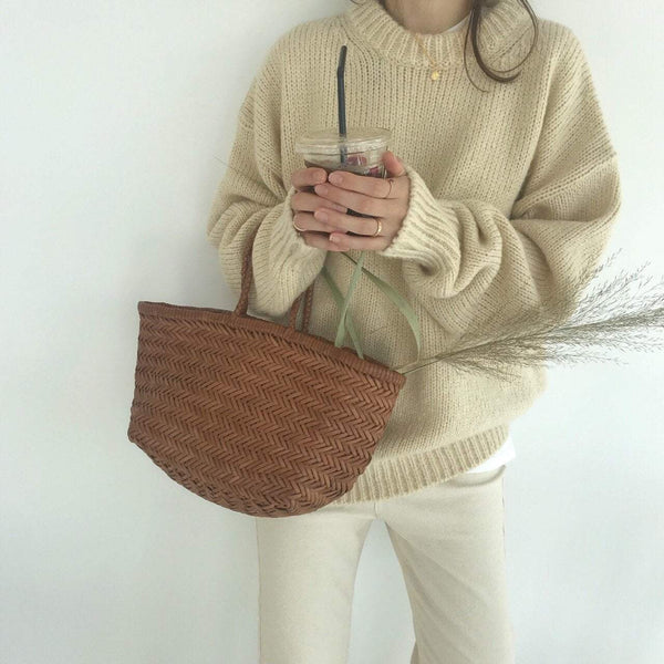 WARM AUTUMN COLORS LONG SLEEVE OVERSIZE KNIT SWEATER