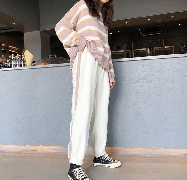 WARM CASUAL STYLE SIDE STRIPES LOOSE PANTS