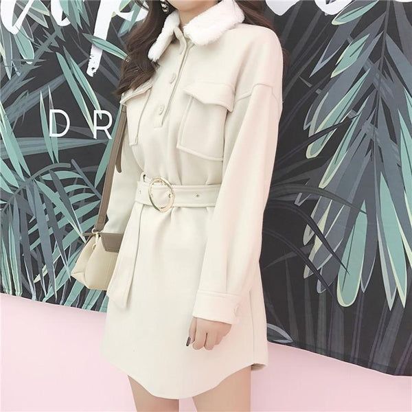 WARM ELEGANT FRONT POCKETS WAIT ROUND BELT FLUFFY COLLAR DRESS