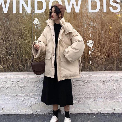 WARM OVERSIZE BEIGE GRAY LONG HOODED JACKET