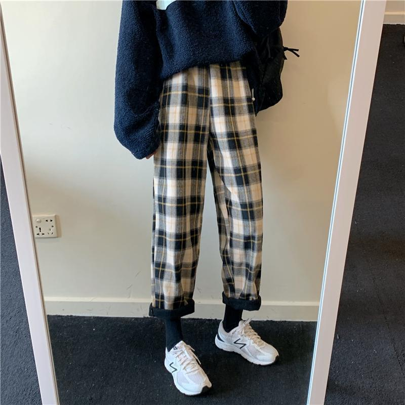 WARM PLAID ELASTIC WAIST LOOSE PANTS PLUS VELVET