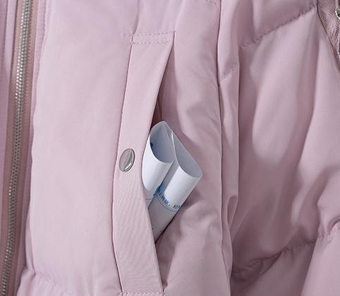 WARM PUFF PADDED HOOD PASTEL COLORS ZIPPER JACKET