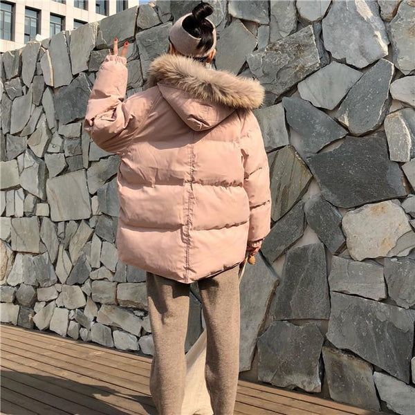 WARM PUFFED OVERSIZE FUR HOOD OUTWEAR ZIPPER JACKET