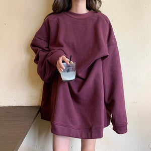 WARM SOLID COLORS OVERSIZED PLUS VELVET SWEATSHIRT