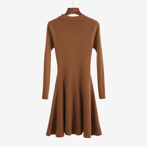 WARM VERTICAL STRIPES KNIT WARM ELEGANT LONG SLEEVE DRESS