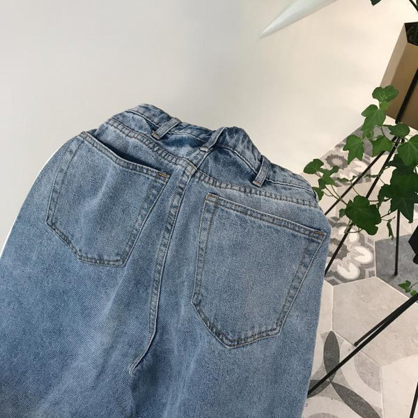 WASHED RETRO BLUE WIDE HIGH WAIST JEANS