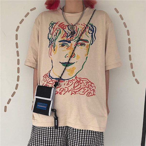 WHITE BEIGE COLORFUL PORTRAIT ART PRINT LOOSE T-SHIRT