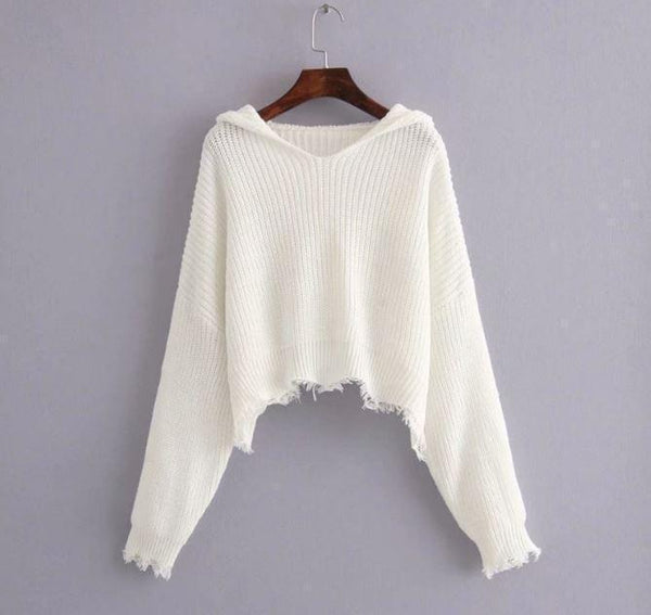 WHITE BLACK TASSEL LOOSE IRREGULAR LENGTH CROPPED HOODIE