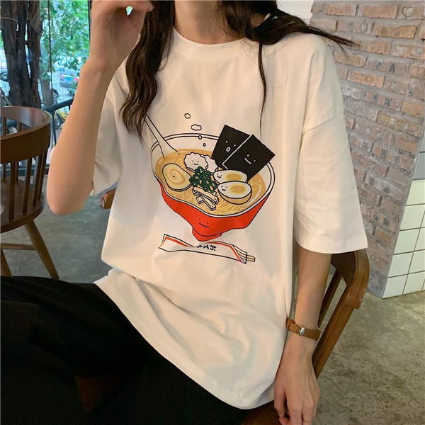 WHITE CUTE RAMEN BOWL PRINT OVERSIZED T-SHIRT