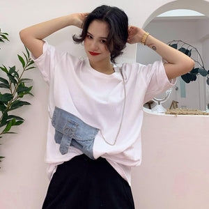 WHITE DENIM POCKET CHAINS PATCHWORK LOOSE T-SHIRT