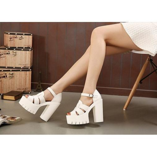 WHITE HIGH PLATFORM RIFFLE SANDALS