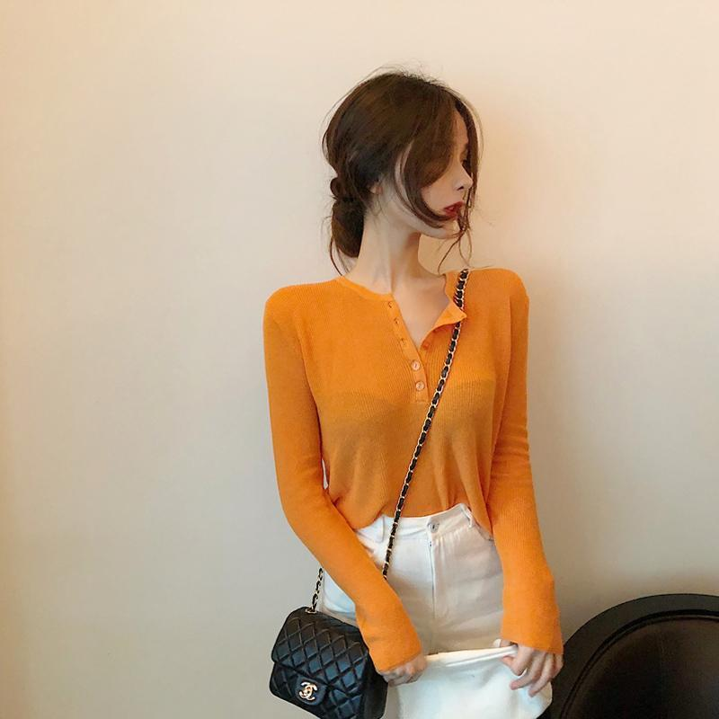 WHITE ORANGE BUTTONS THIN SLIM LONG SLEEVE SHIRT