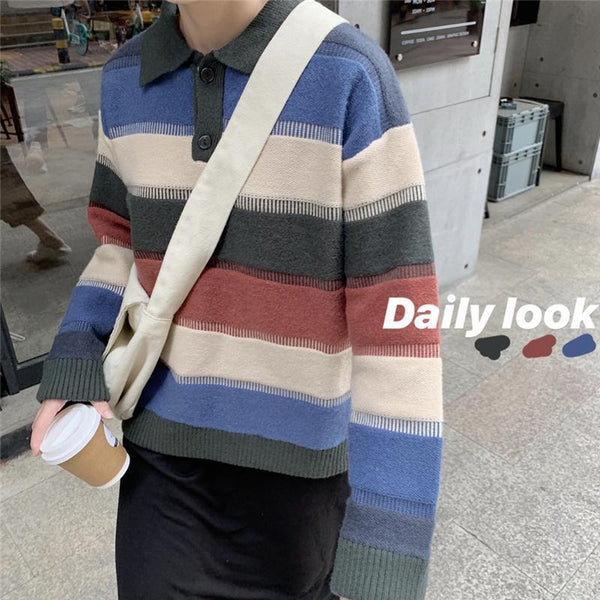 WIDE COLORFUL STRIPES POLO COLLAR LOOSE SWEATER