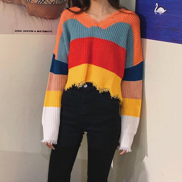 WIDE RAINBOW STRIPES ULZZANG KNIT LOOSE CROPPED SWEATER