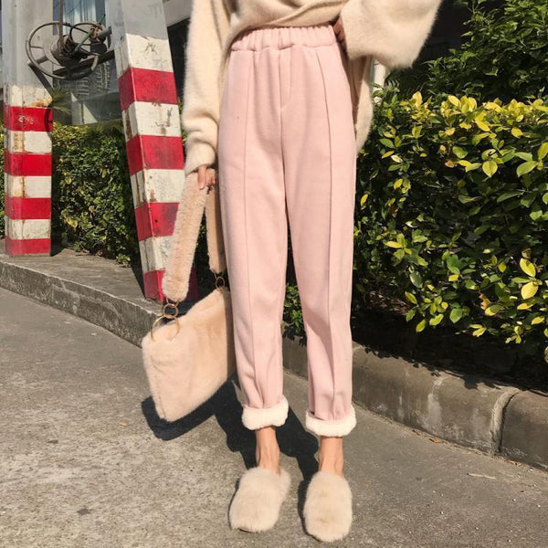 WINTER FAUX FUR PINK BEIGE HIGH WAISTED PANTS