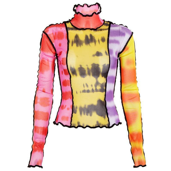 COLORFUL TIE DYE TRANSPARENT LONG SLEEVED MESH BLOUSE