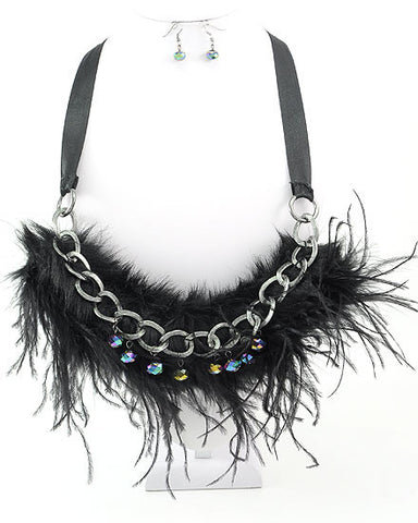 BURLESQUE FEATHER & BEAD BIB NECKLACE & EARRING SET