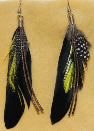 Black Boho Hippie Gypsy Tribal Feather Earrings