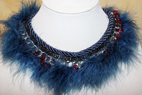 BLUE GOTHIC FEATHER STEAM PUNK CHOKER