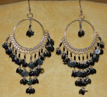 Black Sequined Chandelier Hoop Earrings