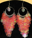 Pink Mermaid Sequined Chandelier Flamenco Earrings