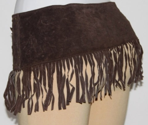 LEATHER TRIBAL BELLY DANCE FRINGE SCARF BELT