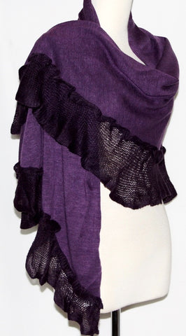 PURPLE BURLESQUE RUFFLED SCARF