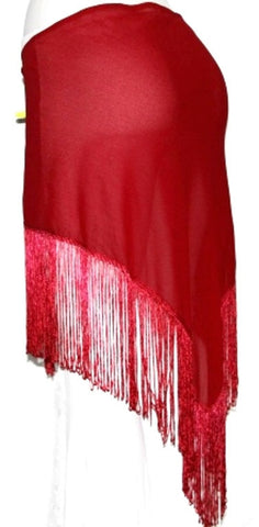 RED TRIBAL BELLYDANCE FRINGE HIP TORTORA SCARF