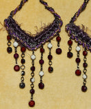 Purple Boho Hippie Chandelier Yarn Earrings