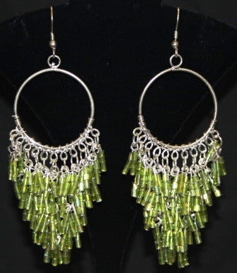 Lime Beaded Chandelier Earrings