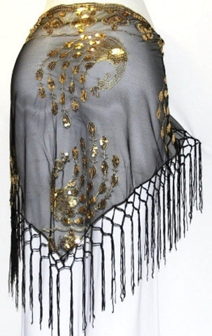 SEQUINED PEACOCK TRIBAL BELLYDANCE FRINGE HIP SCARF