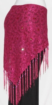PINK GYPSY TRIBAL BELLY DANCE LACE SCARF