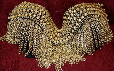 GOLD CHAIN GOTHIC BELLY DANCING STEAM PUNK BRA TOP