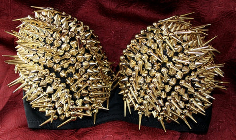 GOLD SPIKE GOTHIC BELLY DANCING STEAM PUNK BRA TOP