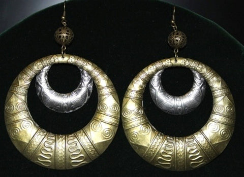 Steam Punk Gypsy Hoop Tribal Earrings