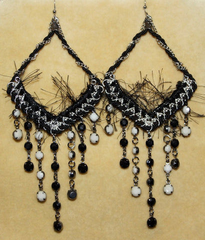 Black Boho Hippie Chandelier Yarn Earrings