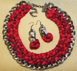 TRIBAL FUSION BELLY DANCE CHOKER & EARRING SET