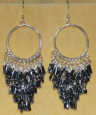 Gunmetal Black Beaded Chandelier Earrings