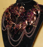 TRIBAL FUSION BELLY DANCE COPPER CHOKER & EARRING SET