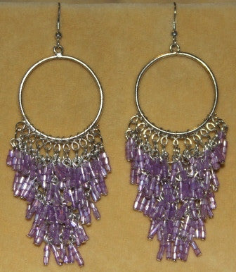 Violet Beaded Chandelier Earrings