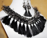 TRIBAL FUSION BELLY DANCE TASSEL CHOKER & EARRING SET
