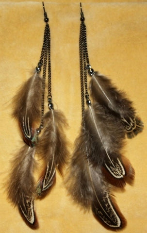 Natural Boho Hippie Gypsy Tribal Feather Earrings