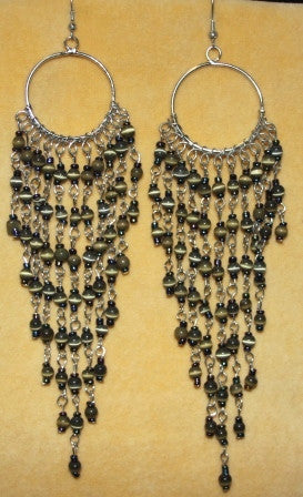Green Long Glass Chandelier Earrings