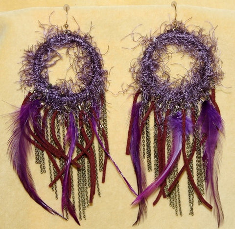 Exotic Feather Boho Hippie Chandelier Earrings